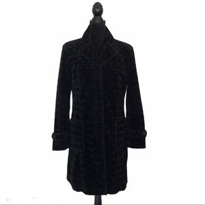 Giacca velvet black button front coat size medium